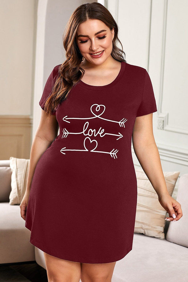 Plus Size LET ME SLEEP Graphic Print Red Nightwear Mini Dress Plus Size Dresses Red 1X