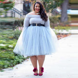 Plus Size Light Blue Tulle Skirt 5 Layers Knee Length Tutu Midi Skirts