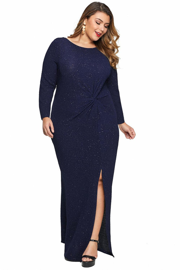 Plus Size Long Sleeve Twist Detail Maxi Metallic Dress dress