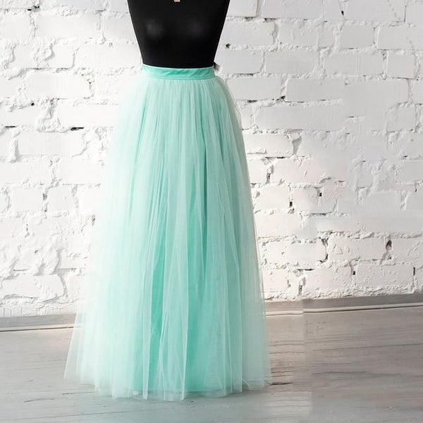 Plus Size Long Tulle Bridesmaid Vintage Wedding Skirts Mint Green skirts Mint 5XL