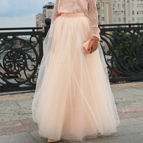 Plus Size Long Tulle Bridesmaid Vintage Wedding Skirts Peach skirts Peach 5XL