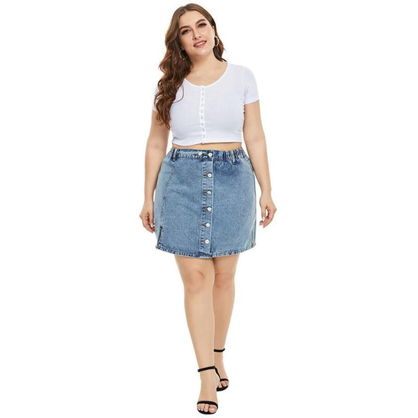 Plus Size Mini Denim Jean Skirt skirts