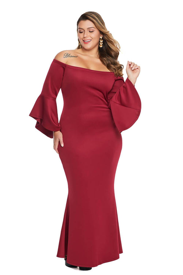 Plus Size Off Shoulder Flare Sleeve Maxi Dress dress Red 1X