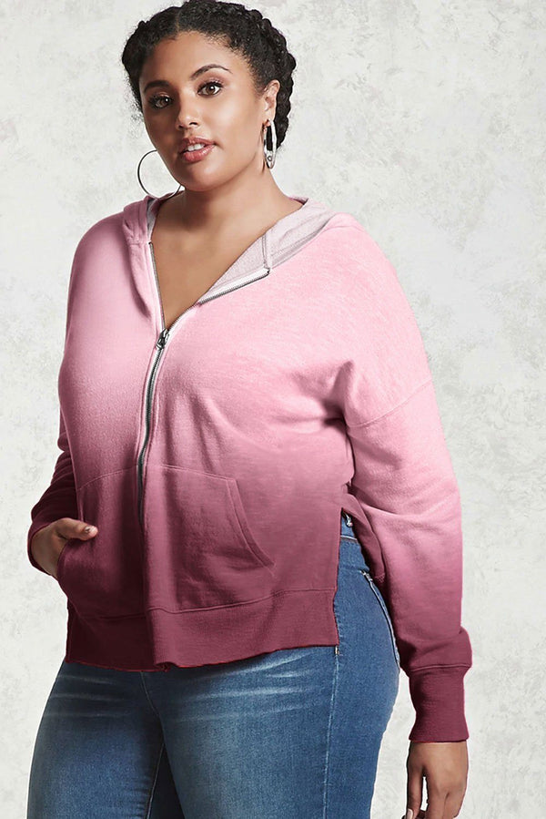 Plus Size Ombre Terry Hoodie Tops Red 1X