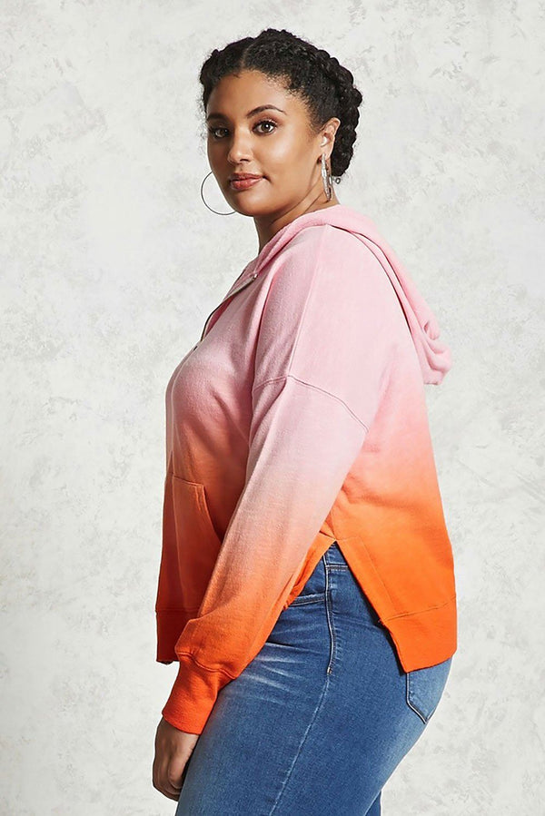 Plus Size Ombre Terry Hoodie Tops
