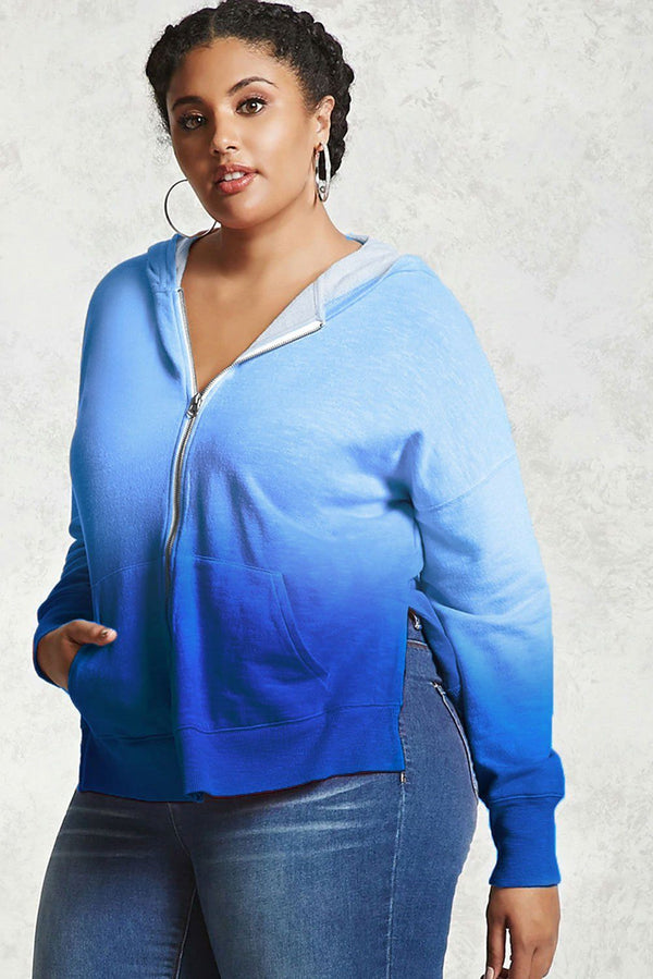 Plus Size Ombre Terry Hoodie Tops Blue 1X