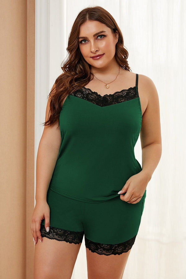 Plus Size Pajamas Set with Lace Trim Plus Size Loungewear Green 1X