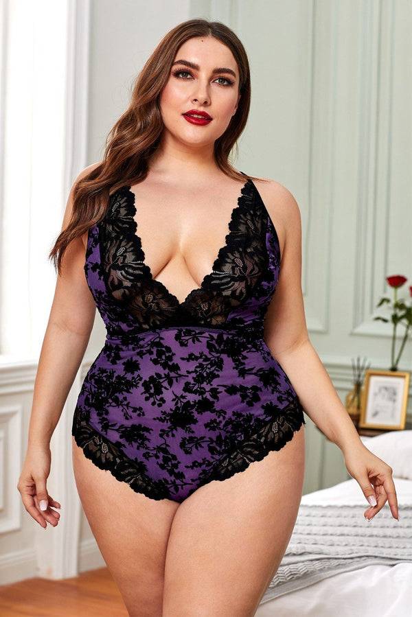 Plus Size Purple Lace Teddy Plus Size Lingerie