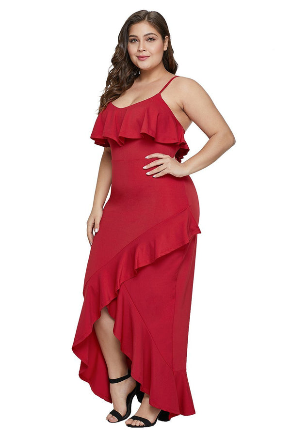 Plus Size Ruffle Trim Spaghetti Straps Maxi Dress dress