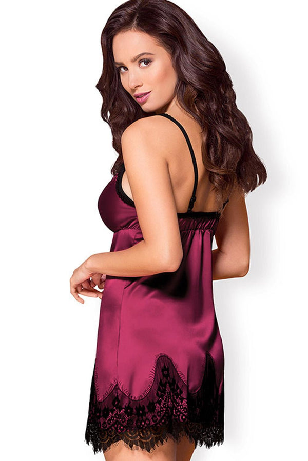 Plus Size Satin Lace Babydoll with Thong Plus Size Lingerie