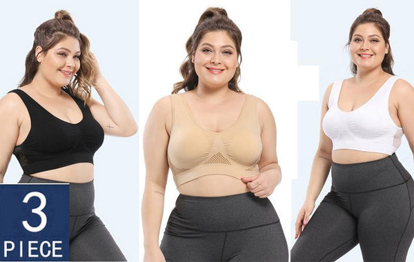 Plus Size Seamless Comfort Sports Bra With Pads