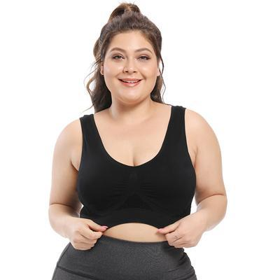 Plus Size Seamless Comfort Sports Bra With Pads bras Black 6XL