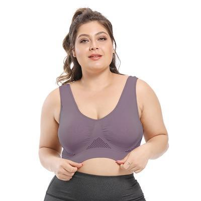 Plus Size Seamless Comfort Sports Bra With Pads bras Brown 6XL