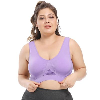 Plus Size Seamless Comfort Sports Bra With Pads bras Purple 4XL