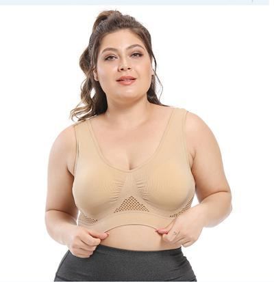 Plus Size Seamless Comfort Sports Bra With Pads bras Skin 6XL