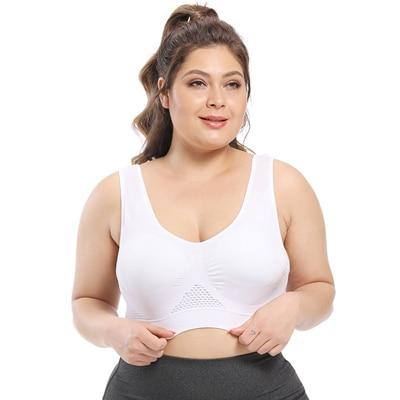 Plus Size Seamless Comfort Sports Bra With Pads bras white 6XL