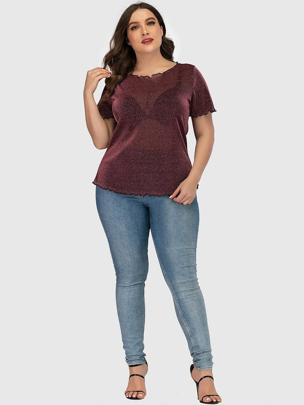 Plus Size Sexy Short Sleeve Transparent Shirt Tops