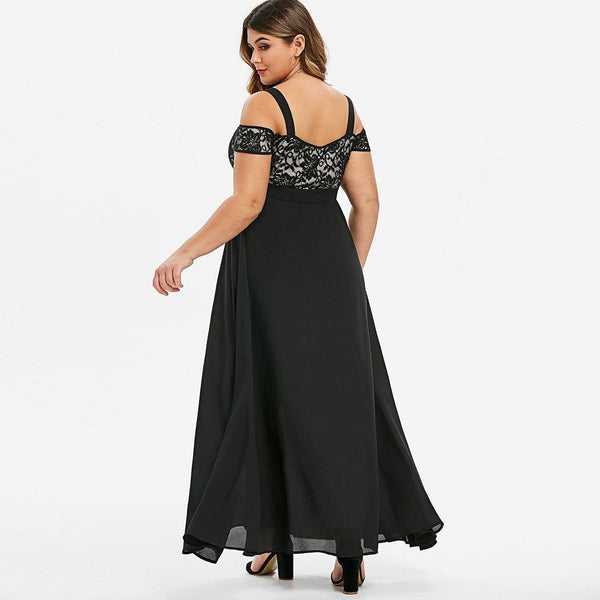 Plus Size Sexy Solid Cold Shoulder Dress Dress