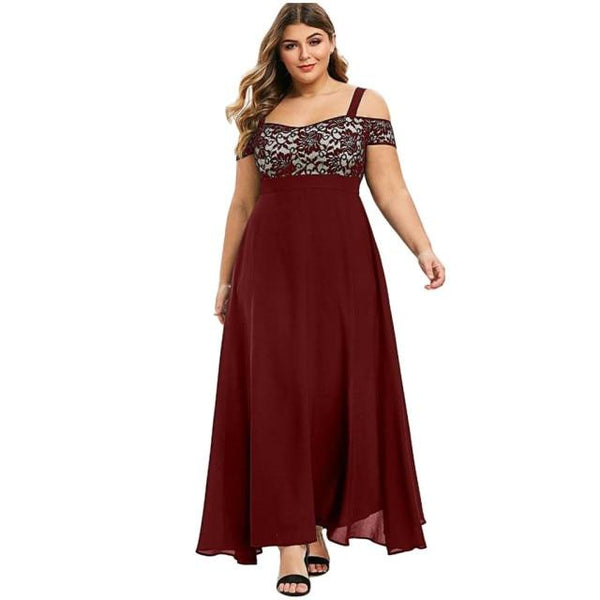 Plus Size Sexy Solid Cold Shoulder Dress Dress Burgundy 4XL United States