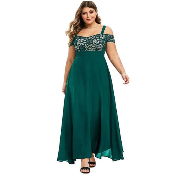 Plus Size Sexy Solid Cold Shoulder Dress Dress Green L United States