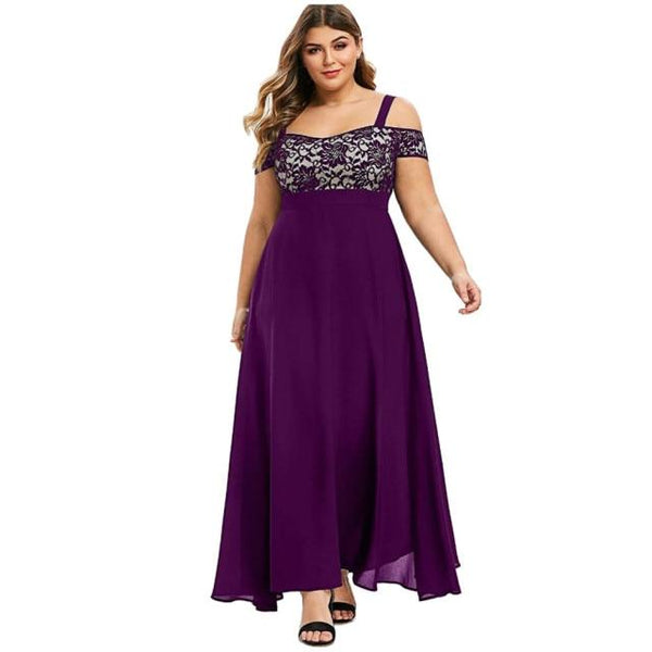 Plus Size Sexy Solid Cold Shoulder Dress Dress Purple L China