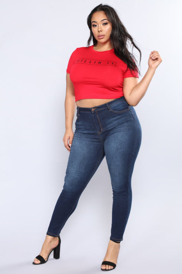 Plus Size Stretch Denim Skinny Jeans pants