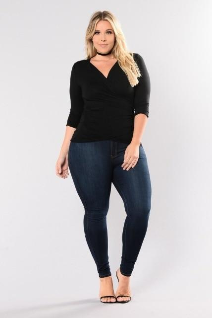 Plus Size Stretch Denim Skinny Jeans pants Indigo XXXL