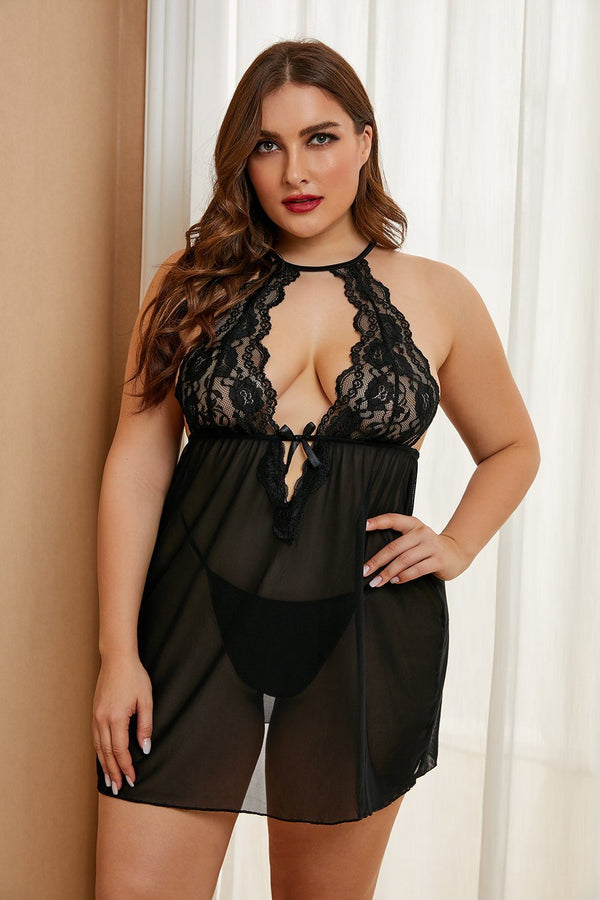 Plus Size Stretch Mesh and Lace High Neck Babydoll Plus Size Lingerie
