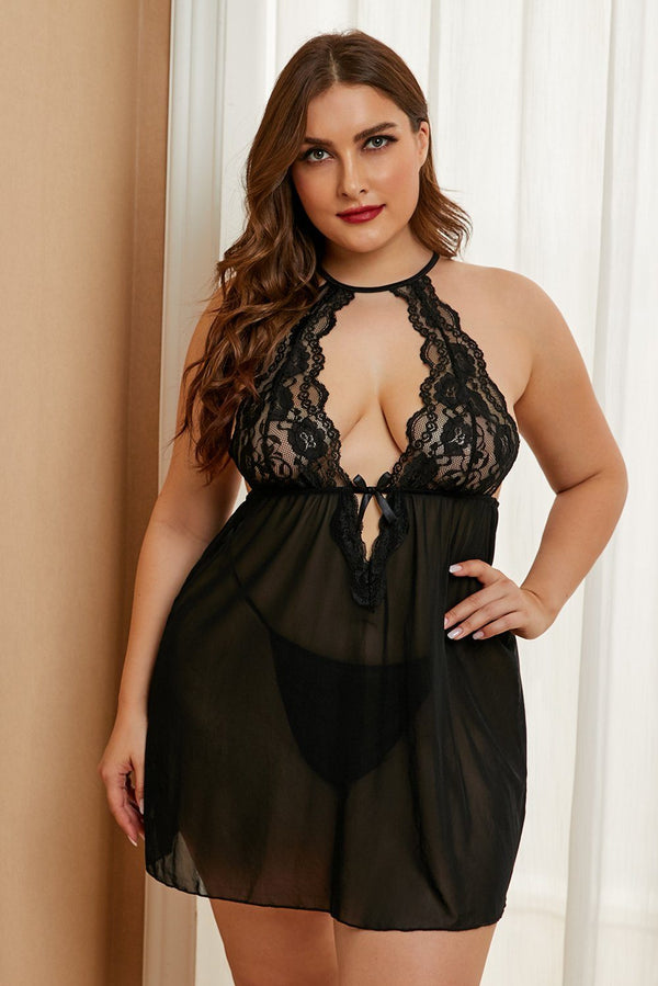 Plus Size Stretch Mesh and Lace High Neck Babydoll Plus Size Lingerie Black 1X
