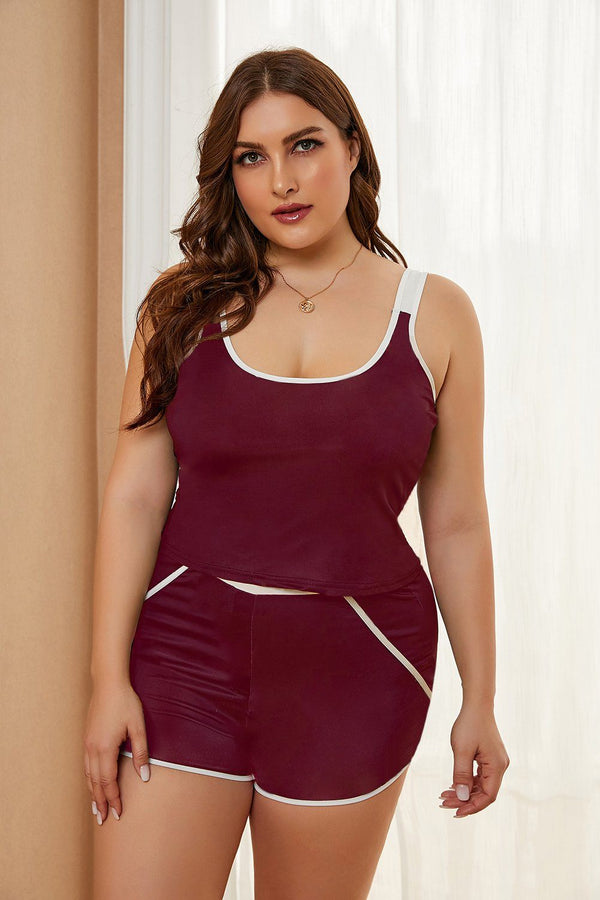 Plus Size Tank and Short Set Plus Size Loungewear Red 1X
