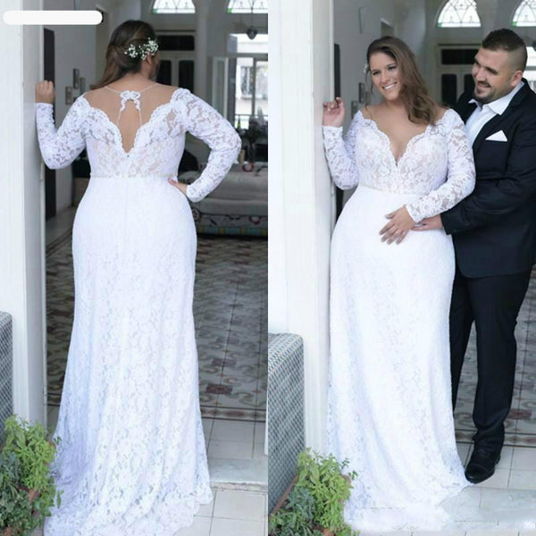 Long Sleeve Bridal Gown With Train