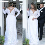 Plus Size Wedding Dress Long Sleeve Wedding Bridal Gown With Train