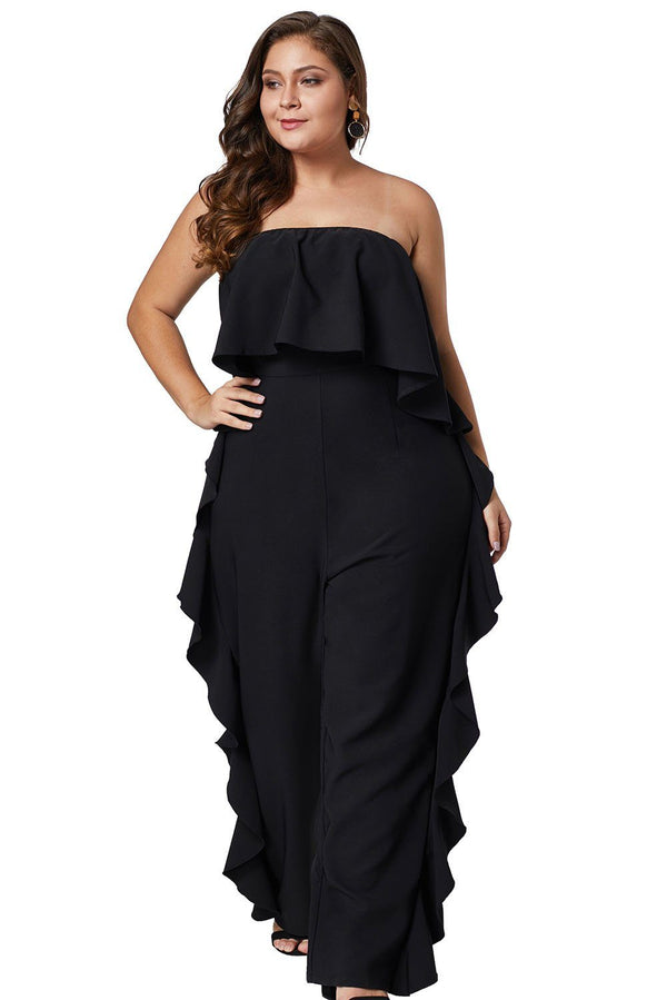 Prime Dreams Plus Size Strapless Ruffle Jumpsuit Rompers