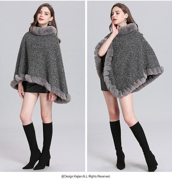 Pullover Poncho Knitted Outerwear outerwear Grey one size