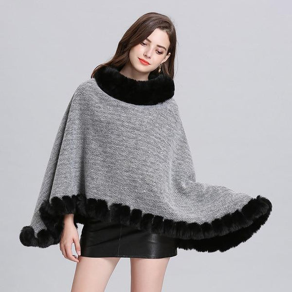 Pullover Poncho Knitted Outerwear outerwear Light Grey one size