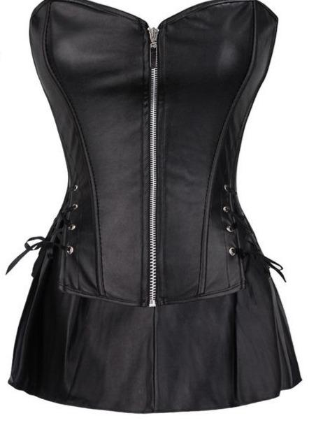 Push Up Faux Leather Gothic Corset corsets Black 6XL