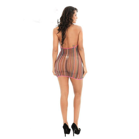 Rainbow Fishnet Sexy Dress Lingerie