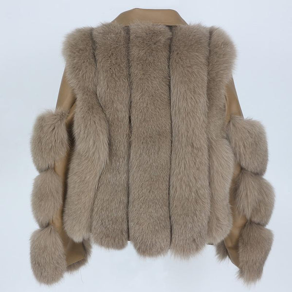 Real Fur Jacket Leather Detachable Sleeves Coats & Jackets