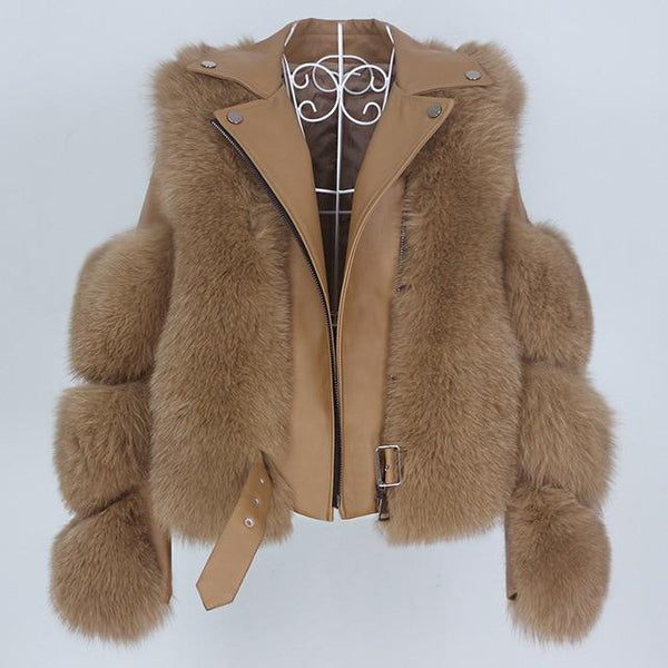 Real Fur Jacket Leather Detachable Sleeves Coats & Jackets camel coat 4XL bust 116 cm