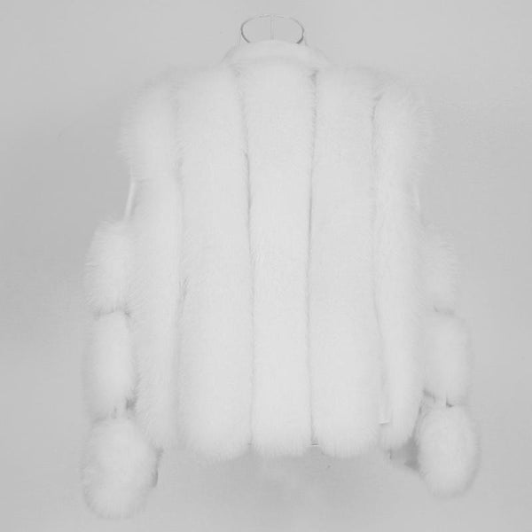 Real White Fox Fur Coat Vest Jacket Genuine Leather