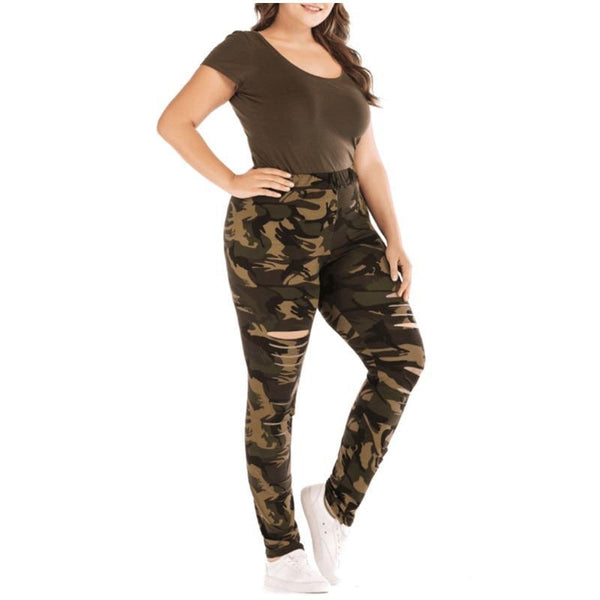 Ripped Camouflage Slim Leggings leggings