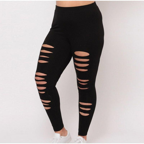 Ripped Camouflage Slim Leggings leggings Black XL
