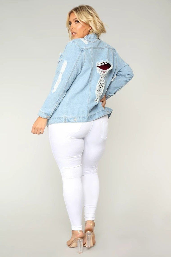 Ripped Denim Long Sleeve Jacket jacket