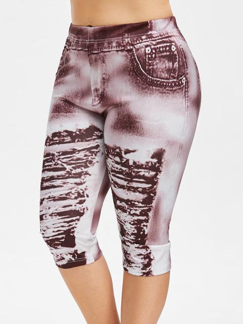 Ripped Mid-Calf Skinny Leggings leggings Multi XL
