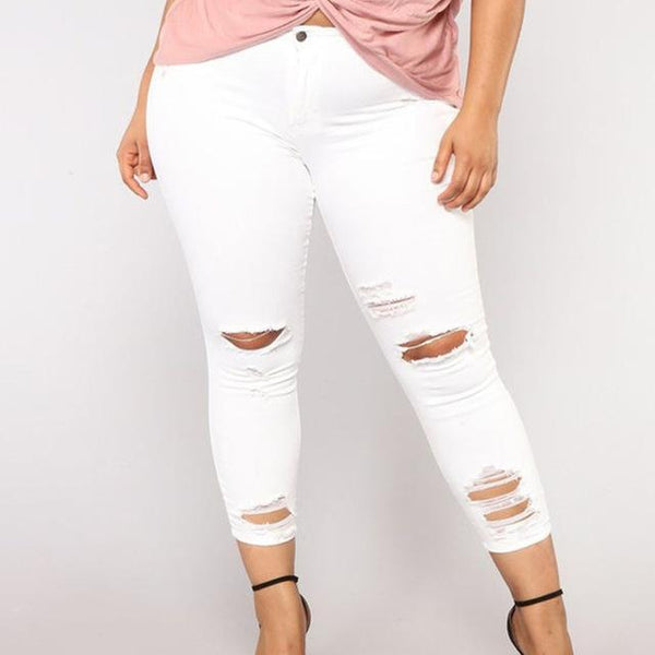 Ripped Tight Elegant Jeans jeans White XL