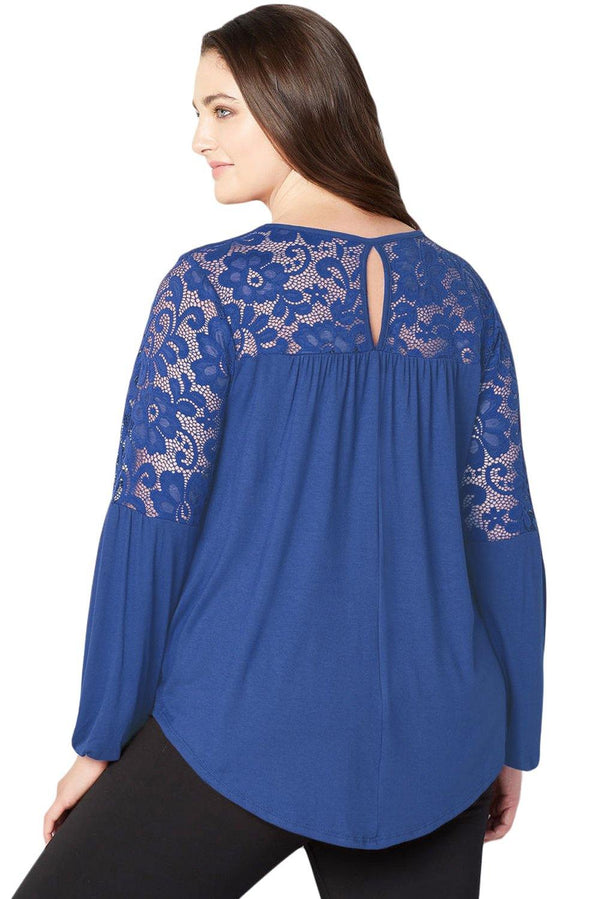 Royal Blue Lace Trim Keyhole Back Plus Size Top Tops