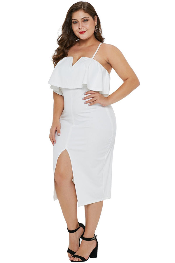 Ruffle Overlay Slit Front Plus Size Dress dress