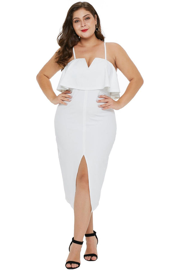 Ruffle Overlay Slit Front Plus Size Dress dress White 1X