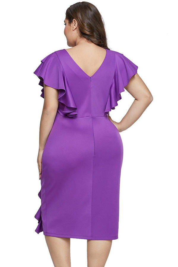 Ruffled Flutter Sleeve Plus Size Dress dress