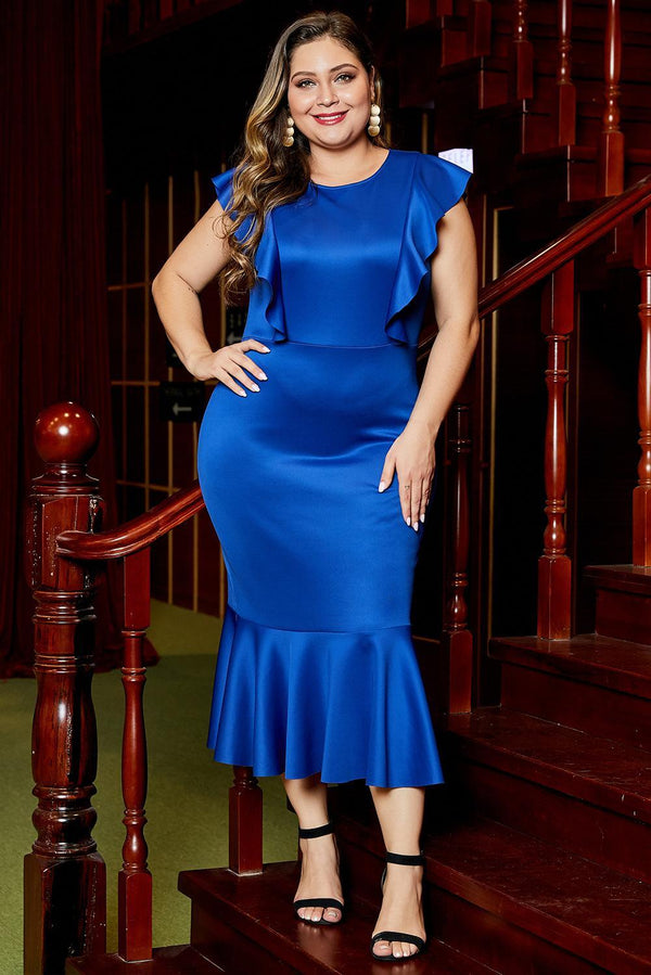 Ruffled Short Sleeve Knee Length Formal Plus Size Dress dress